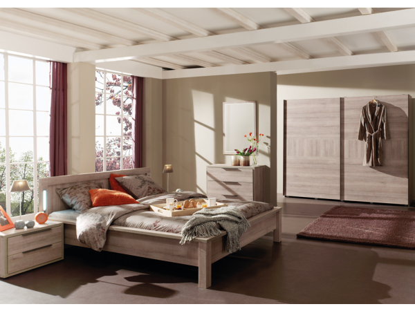 Hout Slaapkamer Meubels : Slaapkamer bruno kleur: authentic oak grau hout deba meubelen