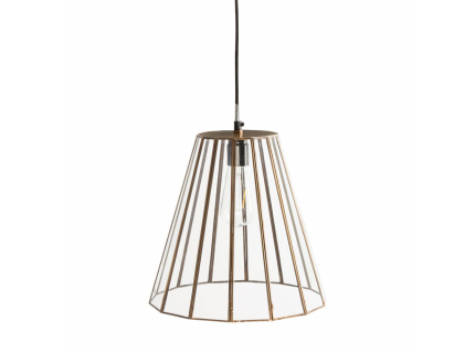 Tap hanglamp, Antique Brass & Tempered Glass