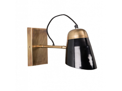 Old School wandlamp, Glossy Black/Brass