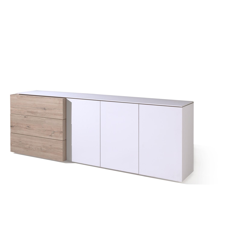 Lichtgrijs Eiken Meubels : Dressoir livorno kleur milenium eik lichtgrijs wit wit