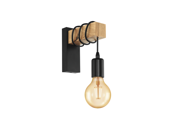 wandlamp townshend kleur hout zwart metaal hout deba meubelen