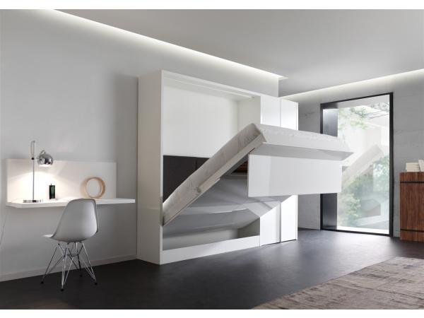 opklapbed verticaal 2-persoonsbed loft - wit + effen wit wit | deba
