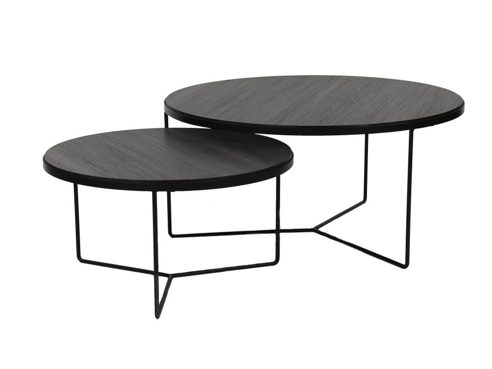 Set van salontafels miso kleur zwart metaal zwart deba