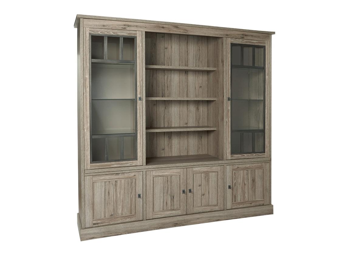 Kast vitrine york crystal oak beige hout deba meubelen