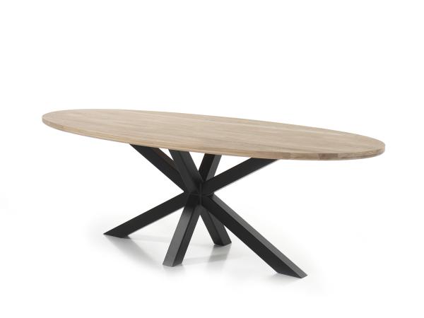 Eetkamertafel ovaal glasgow creamy white hout deba meubelen
