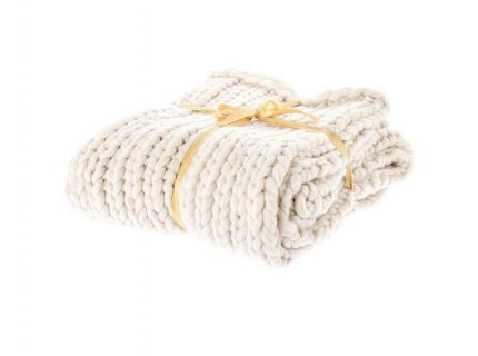 Plaid 'Knitted' - kleur: Crème