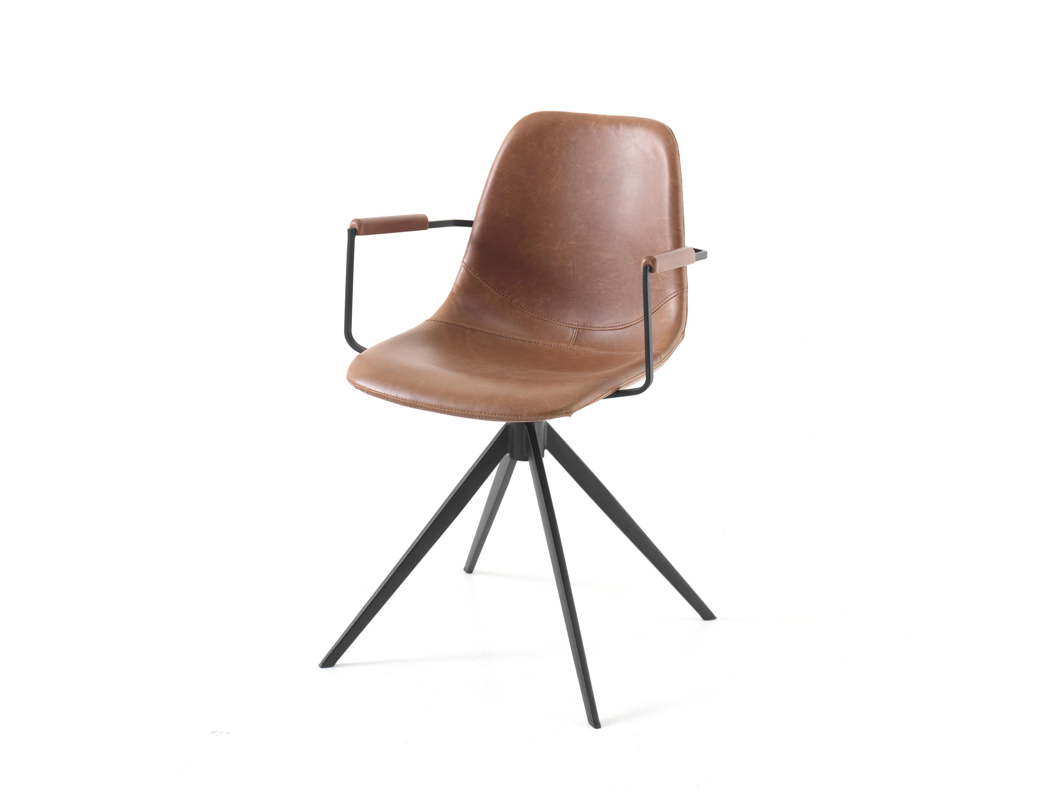 Woonkamer Zwart Bruin : Draaibare armstoel kleur vintage cognac zwart bruin deba meubelen
