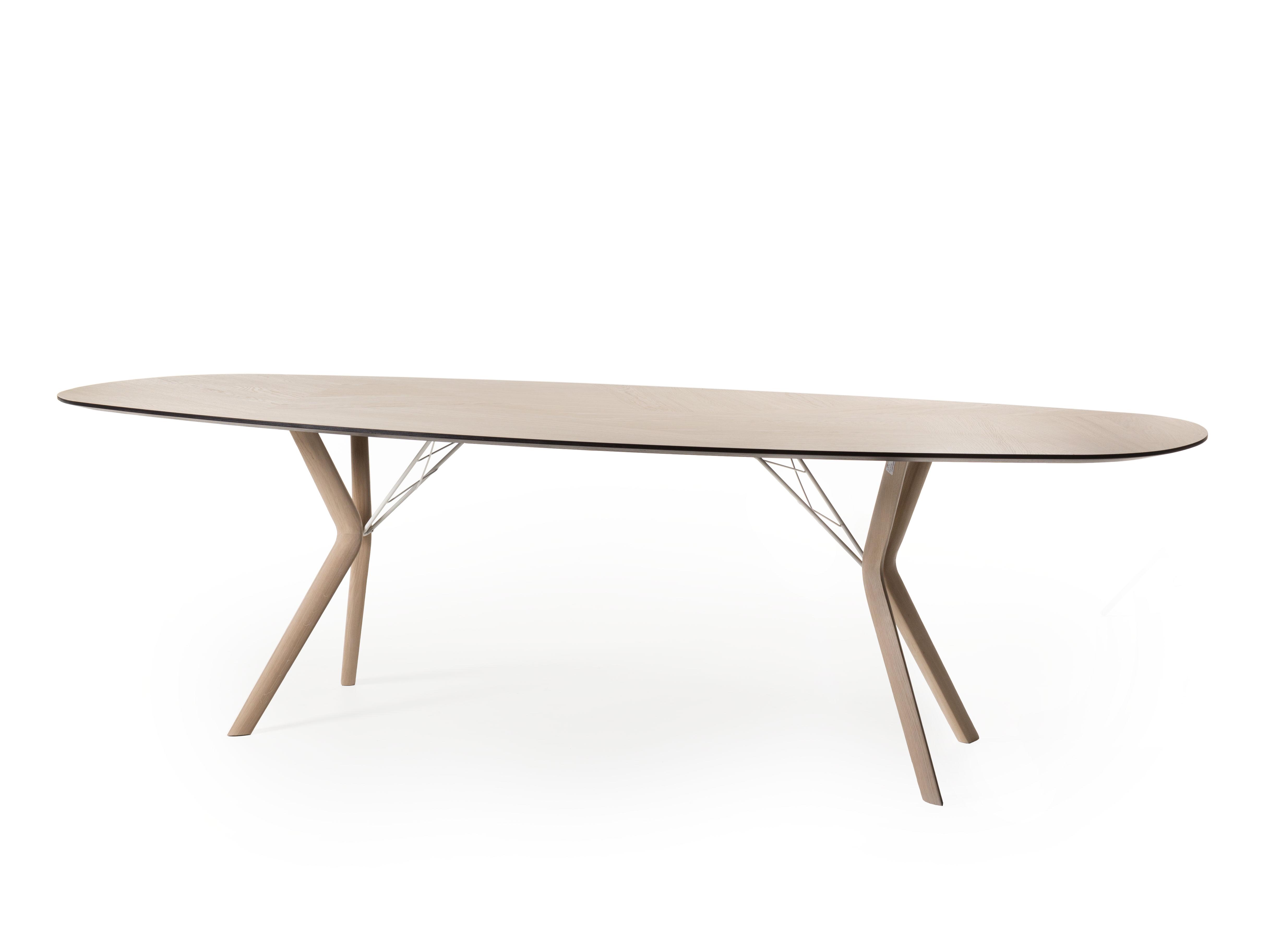 Ovale tafel eclipse eiken mozaïek hout deba meubelen