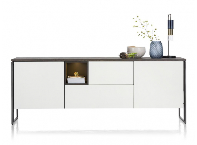 Dressoir GLASGOW - Wit/carbon