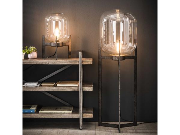 Zijlstra Glazen Tafels.Vloerlamp 7419 Glas Metaal Rvs