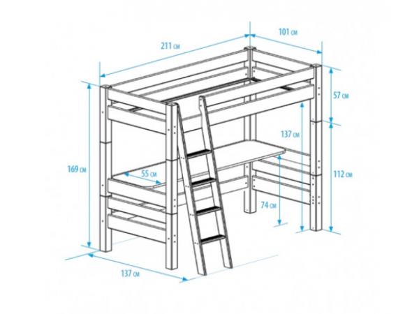 Super Ombouwbed / hoogslaper met bureau BED4LIFE - Wit wit | DEBA Meubelen VH-68