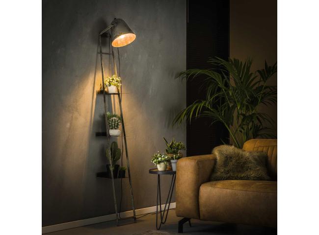 Wandschap met lamp - Oud zilve