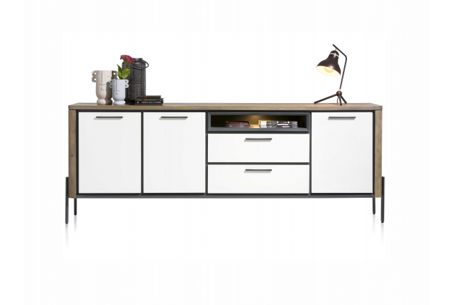 Dressoir SHIRLEY - Wit/Acacia