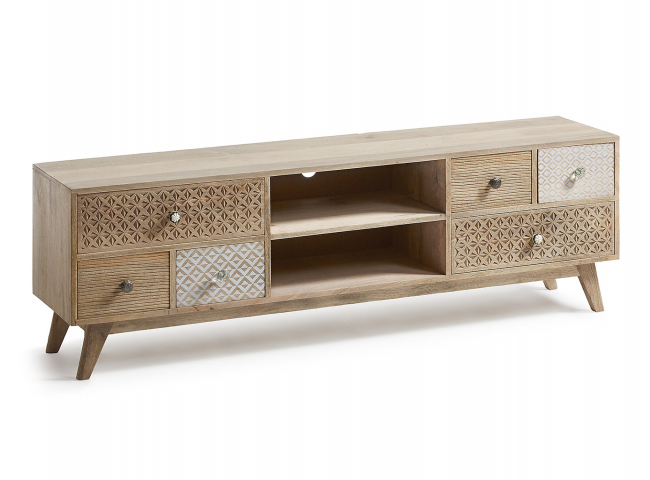 Tv-kast HOOD - Hout naturel/wi