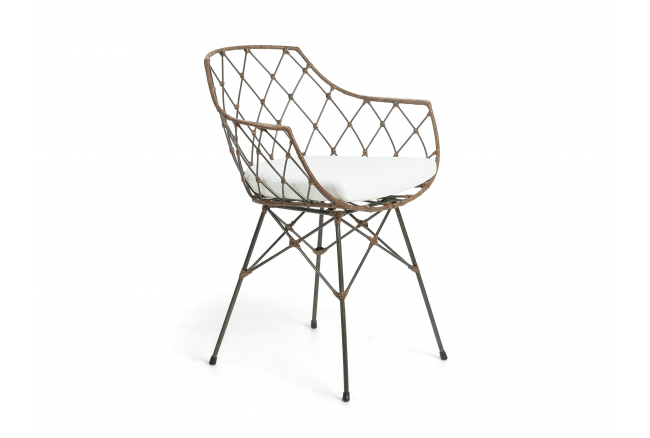 Fauteuil ENERGY - Wit/rotan