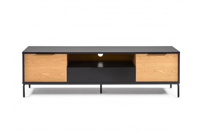 Tv-meubel SAVOI - Zwart/hout