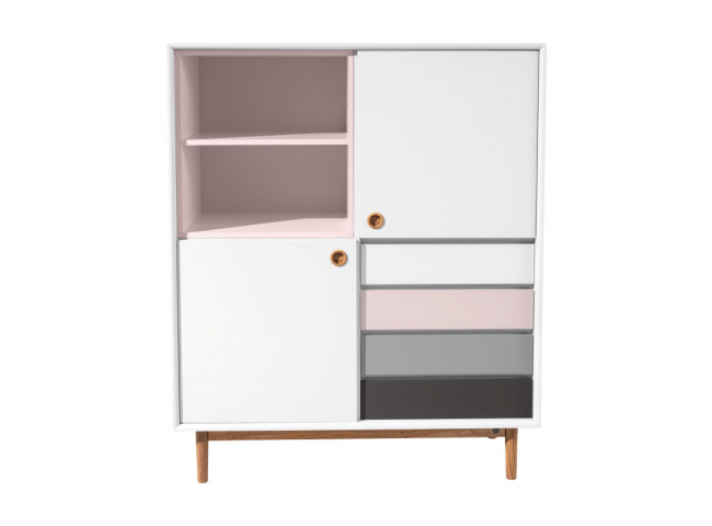 Highboard COLOR BOX - White/Ro