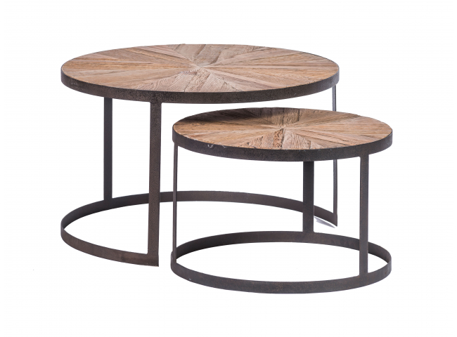 Set van 2 salontafels - Oak ru