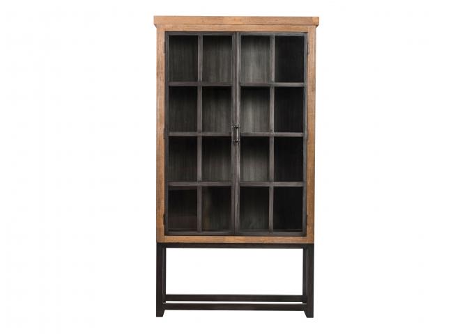 Smalle vitrine LIN - Glas/teak
