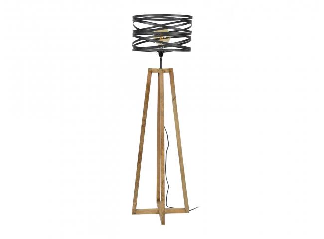Vloerlamp TWIST - Hout/metaal