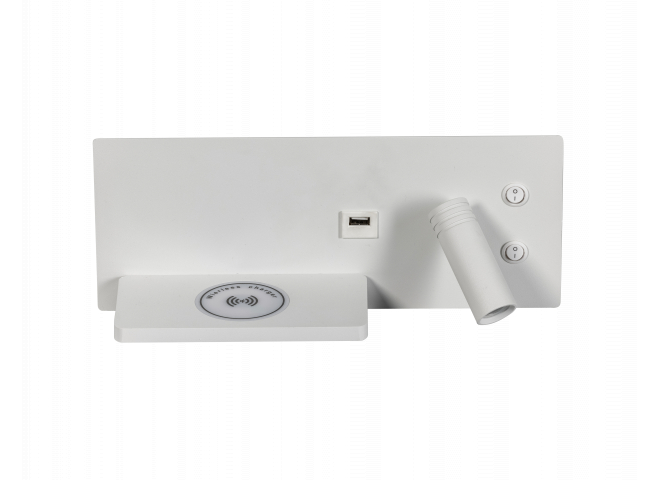 Muurlamp met USB en draadloos