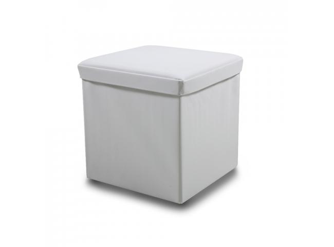 Poef 'Sada' - kleur: Lederlook white