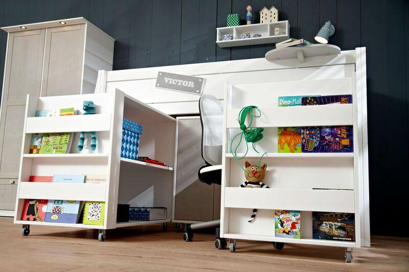 Bureau op wielen onder halfhoogslaper wit deba meubelen