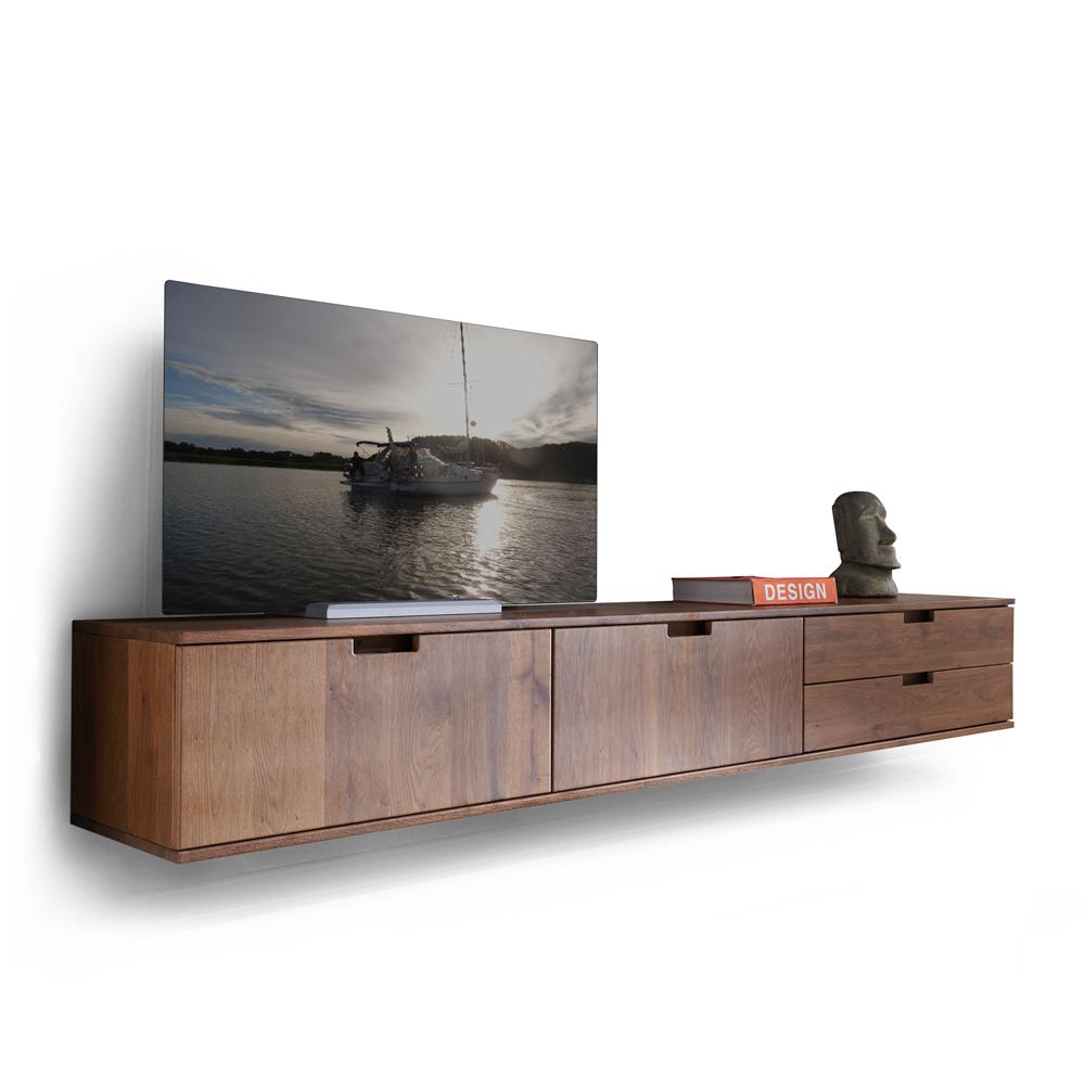Tv Kast Hangend : Tv dressoir hangend sirena eik mat gelakt hout deba meubelen