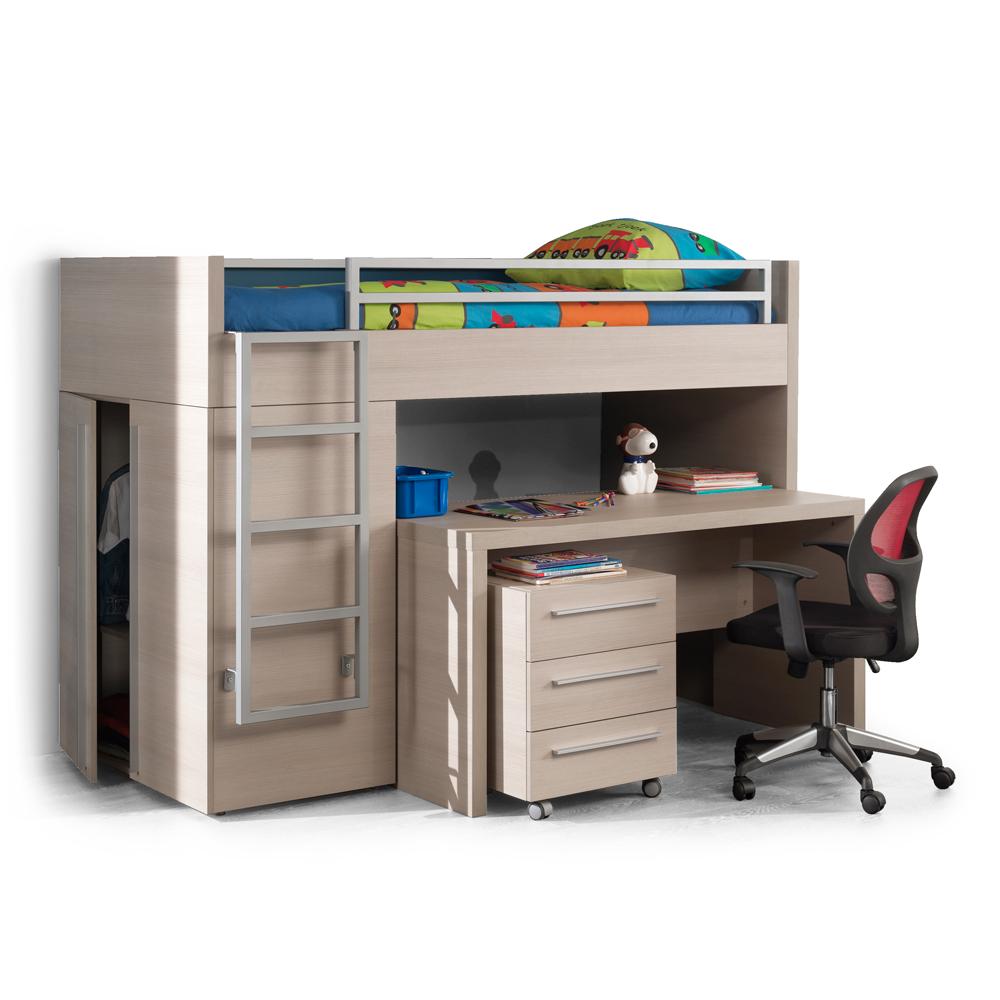 Hoogslaper Met Bureau En Zetel : Hoogslaper bureau hout deba meubelen