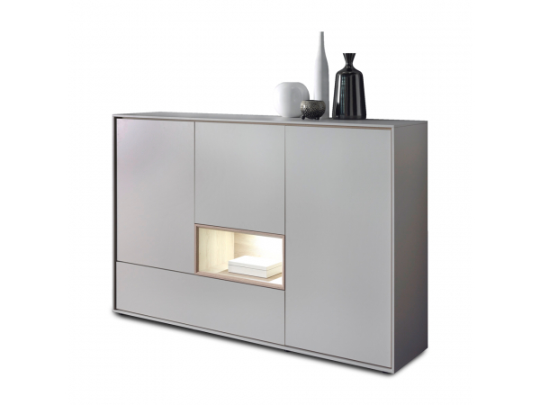 Hoge Kast Woonkamer : Kast hoge dressoir incl. verlichting kyara cas grijs deba meubelen